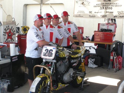 Pictured left to right – Sgt Eddie Stow, LCpl A. J. White, Pat Howland, and LCpl Brian Hult with the Team Ohio Racing #26 Vance & Hines XR1200 Series Harley-Davidson